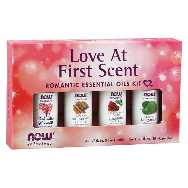 NOW Love at First Scent Essential Oil Kit - 4 Bottles - New Roads Nutrition