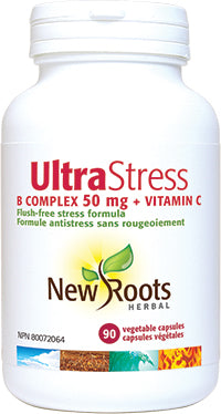 New Roots Ultra Stress B Complex 50 mg + Vitamin C 90 Caps - New Roads Nutrition