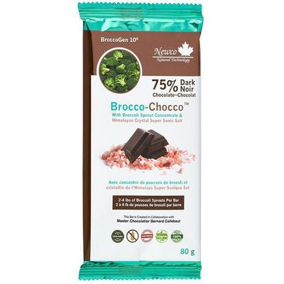Newco Brocco-Chocco 75% Dark 80 gr Bar - New Roads Nutrition
