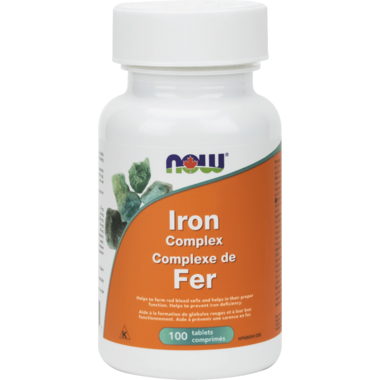 Now Iron Complex / Fer 100 tablets - New Roads Nutrition