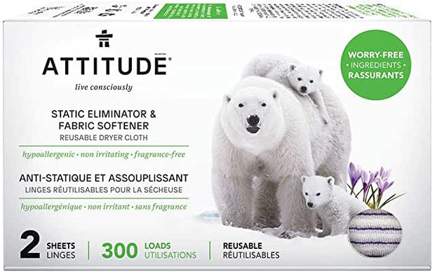Attitude Anti Static Laundry Cloths 300 loads