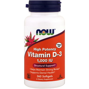 Now Vitamin D3 1000IU 360 gels - New Roads Nutrition