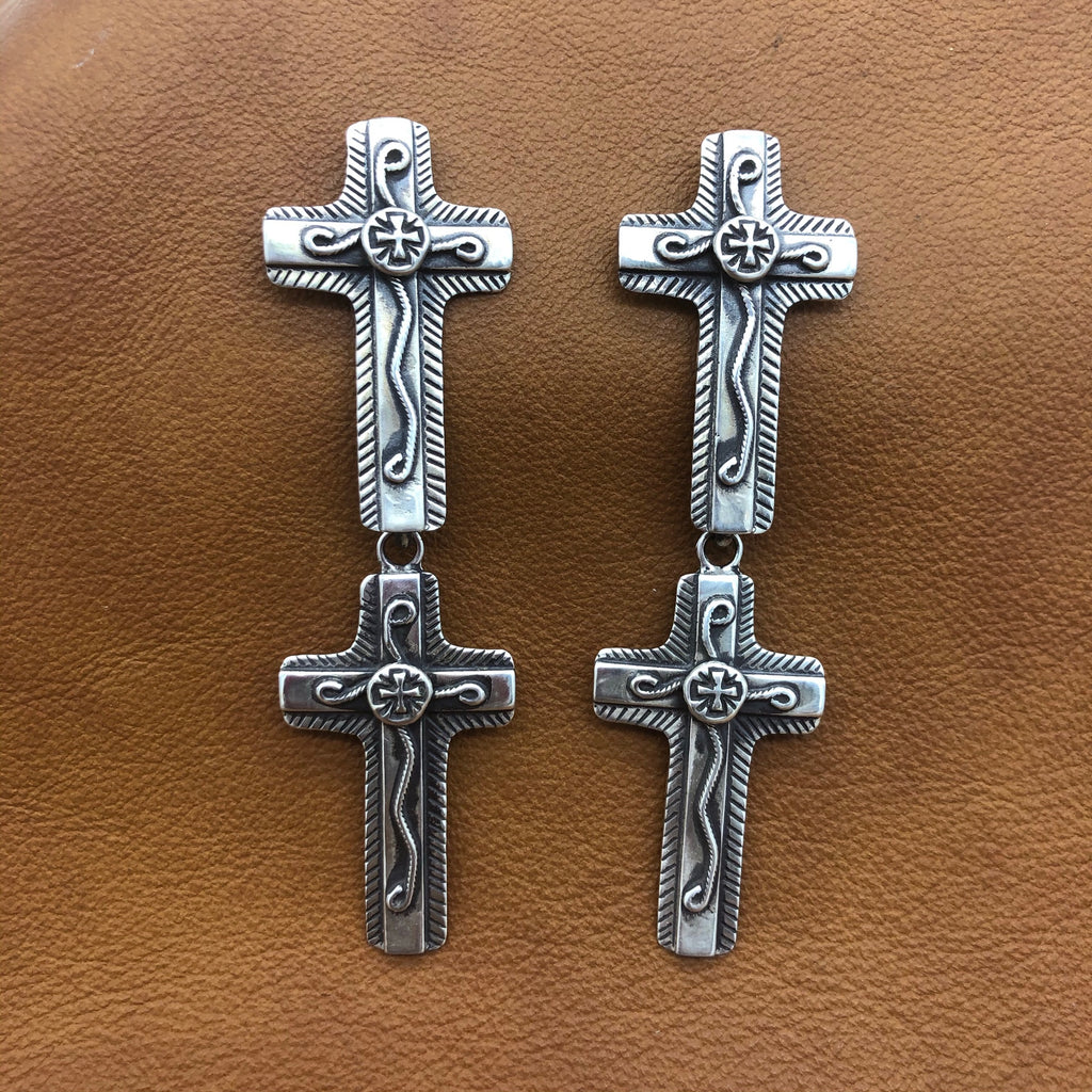 SALE E240D Double Chimayo Cross Overlay Earrings
