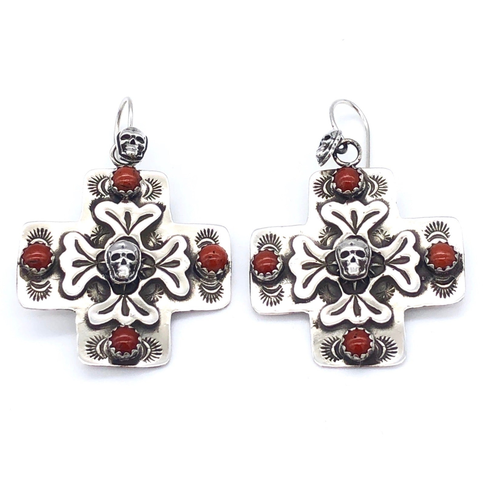 E110D Santa Fe Cross with Skull Center and Stone Earrings