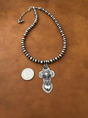 Multi Layer Cross and Heart Pendant on Santa Fe Pearls