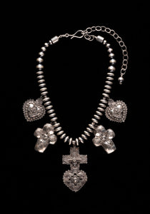 2018 Traditional Spanish Market award winning necklace My Mothers Heart by Gregory Segura Sterling silver heart and cross with Santa Fe Pearls