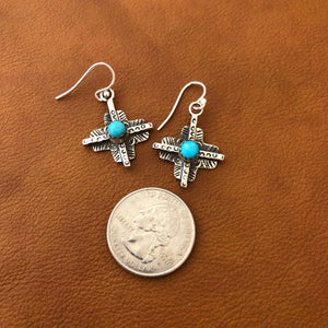 Tesuque Cross Coral or Turquoise Earrings E113A