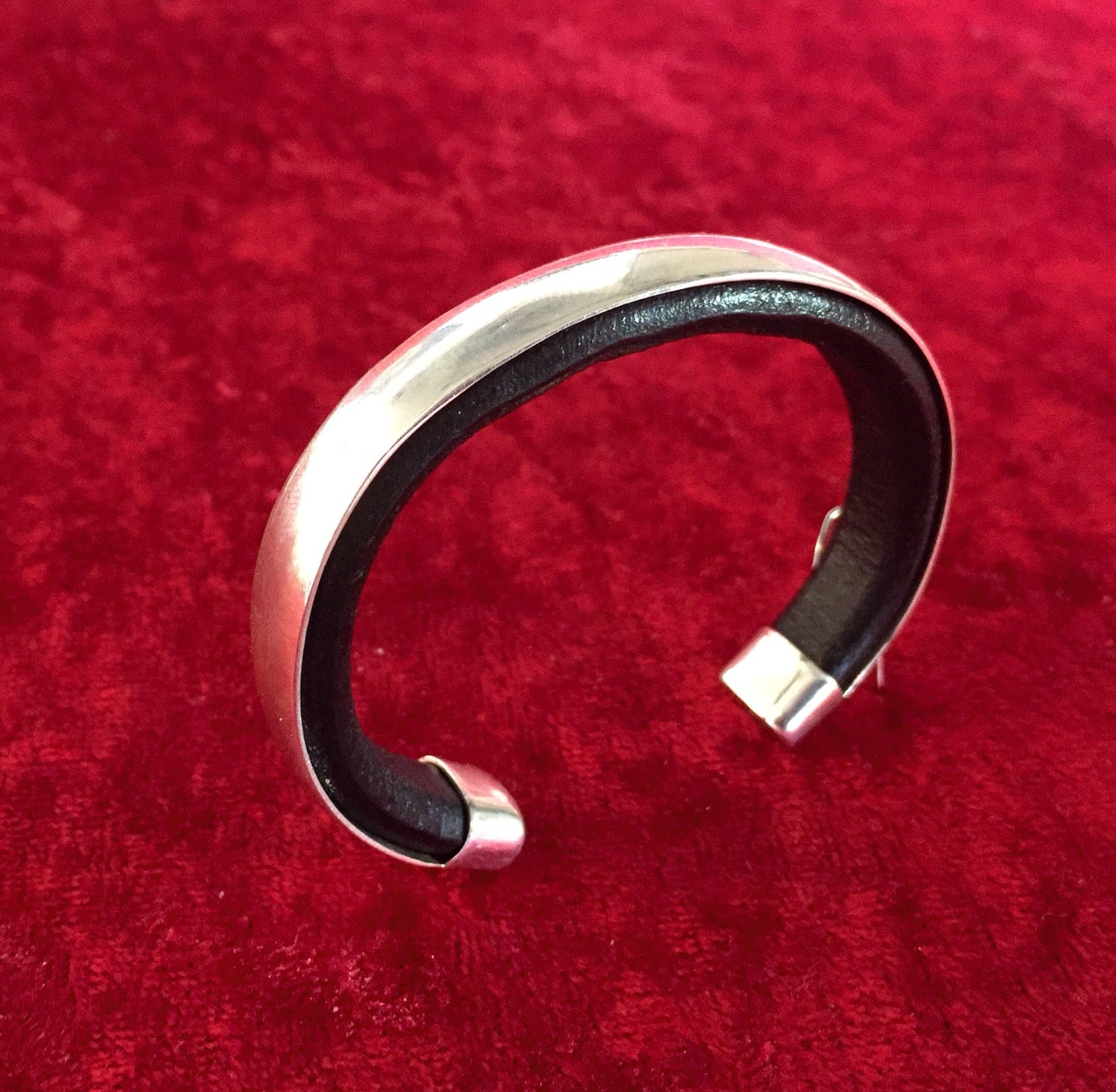 C35 Hollywood  Leather and Silver Cuff