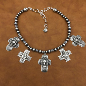 N206 Skulls and Crosses Sterling Silver Necklace
