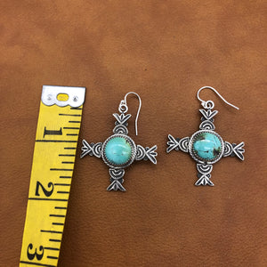25% OFF Loretto Cross Turquoise Earrings E89