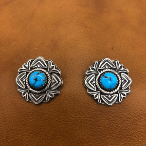 E308 Rose Window Turquoise Earrings