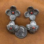 Double Domed Sunrise Cross Earrings E175D