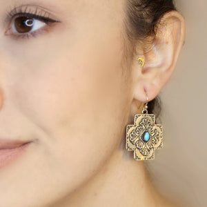 20% OFF Plaza Cross with Center Stone Earrings E88