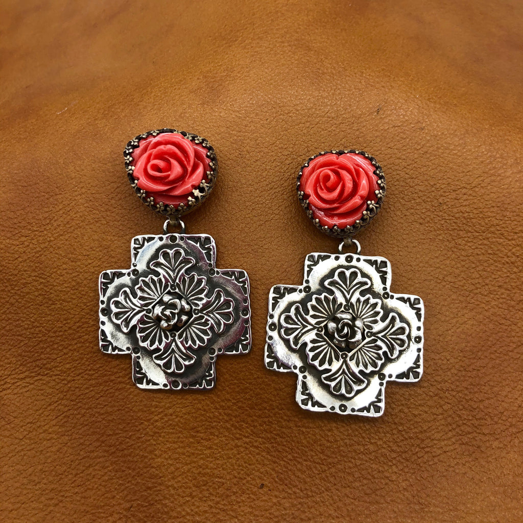 SALE Rose Top Plaza Cross Earrings E341