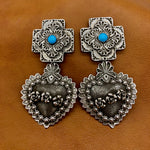 E347 Plaza Cross and Heart with Roses Earrings
