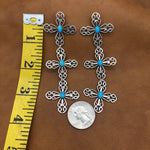 SALE Triple Wire Cross Turquoise Earrings E90T