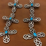 Triple Wire Cross Turquoise Earrings E90T