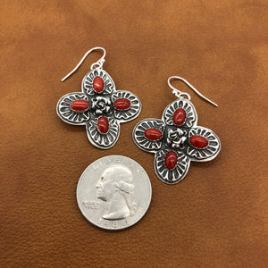 E141F Sunrise Cross with Coral Earrings