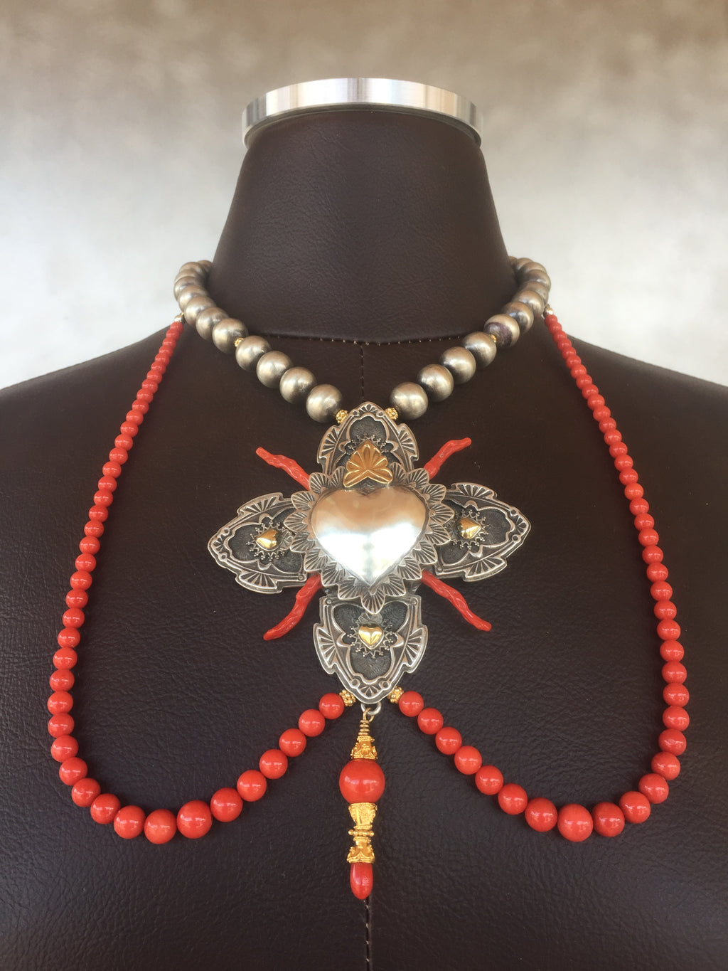 Empress Isabel Necklace by Award Winning Santa Fe Spanish Market Artist Gregory Segura for the Albuquerque Museum exhibition Jewelry from New Mexico June 2018