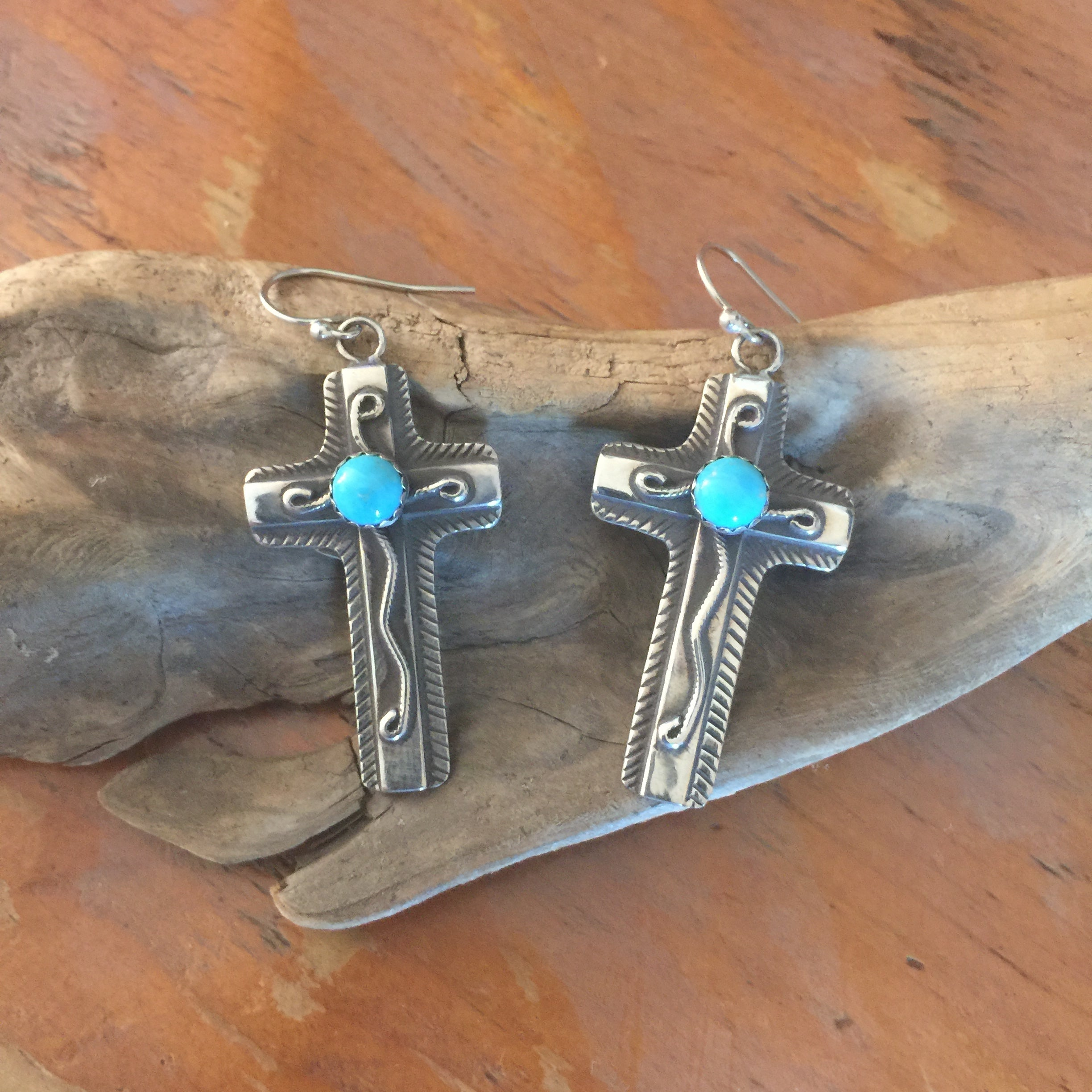 E240T Chimayo Cross with Turquoise Earrings