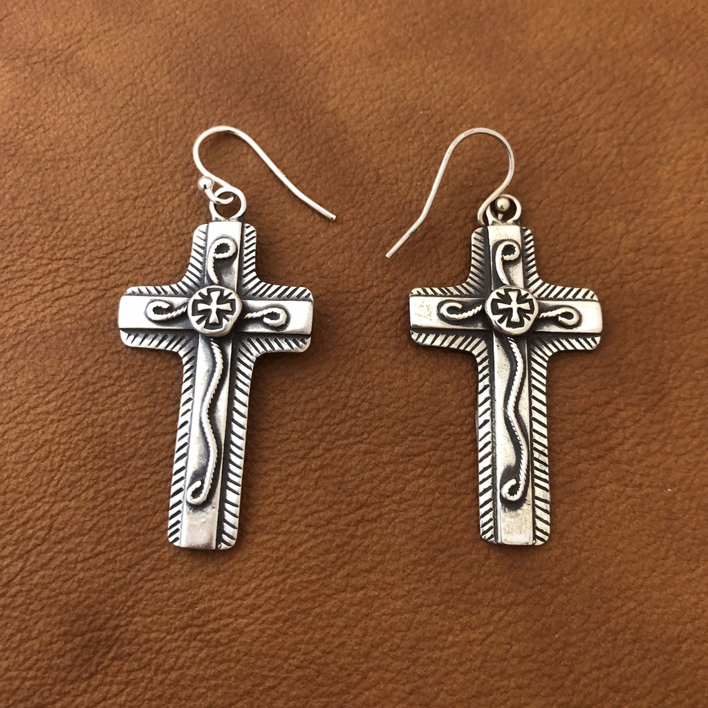 SALE Chimayo Cross Overlay Earrings E240