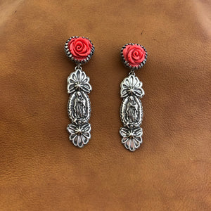 E361 Roses and Guadalupe Earrings
