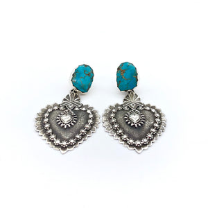 EBH31a Santa Fe and Taos Heart with Turquoise Earrings