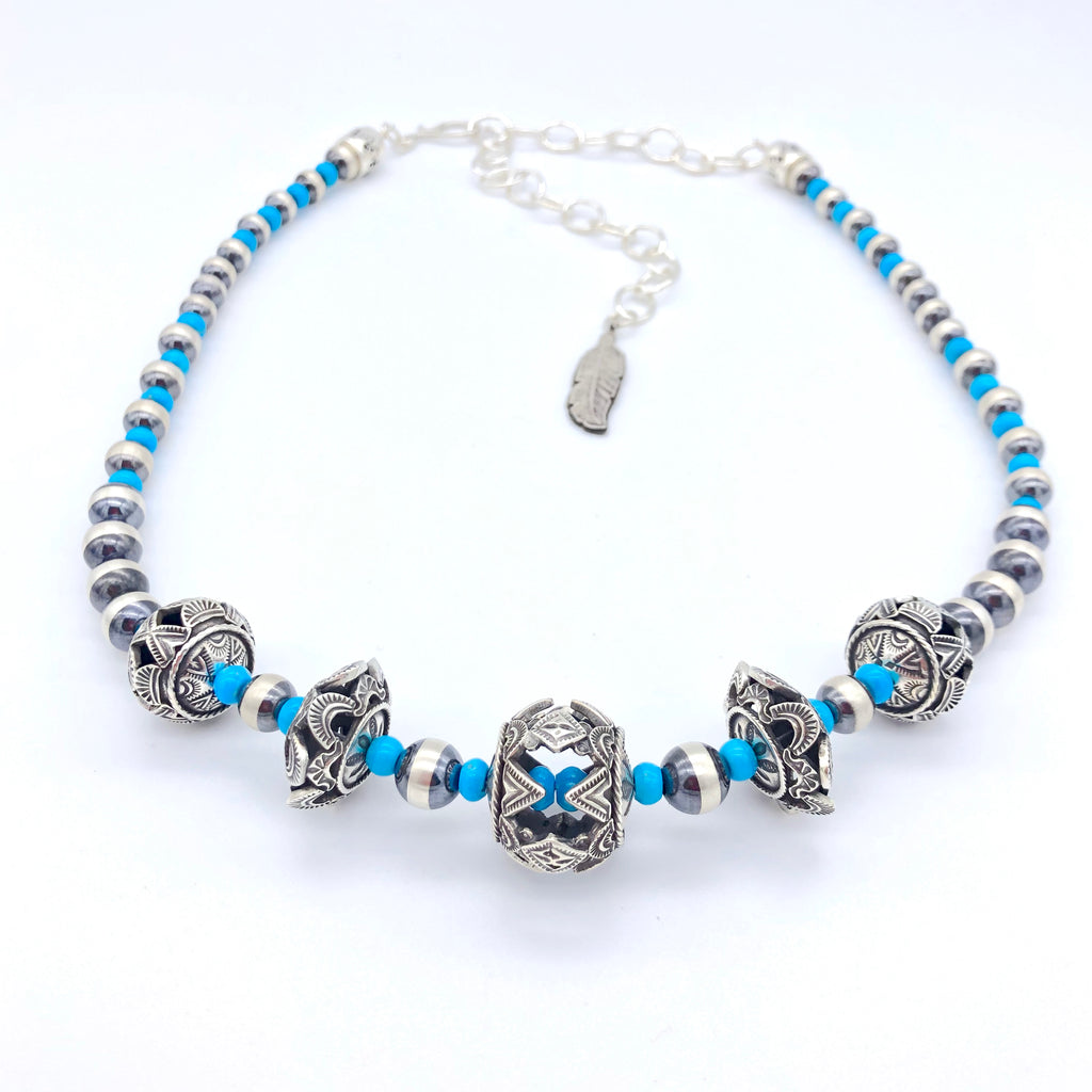 Santa Fe Pearls with Turquoise and Sterling Bead Necklace