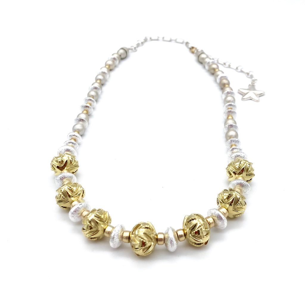 SFP100 18k Gold Seven Star Santa Fe Pearl Necklace