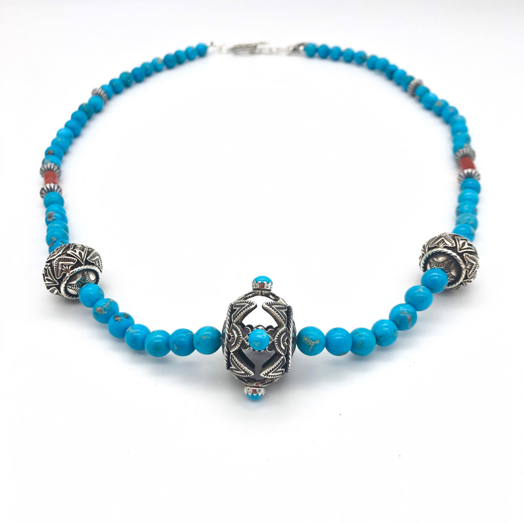 Contact to Inquire SP6 Santa Fe Pearls with Turquoise Necklace
