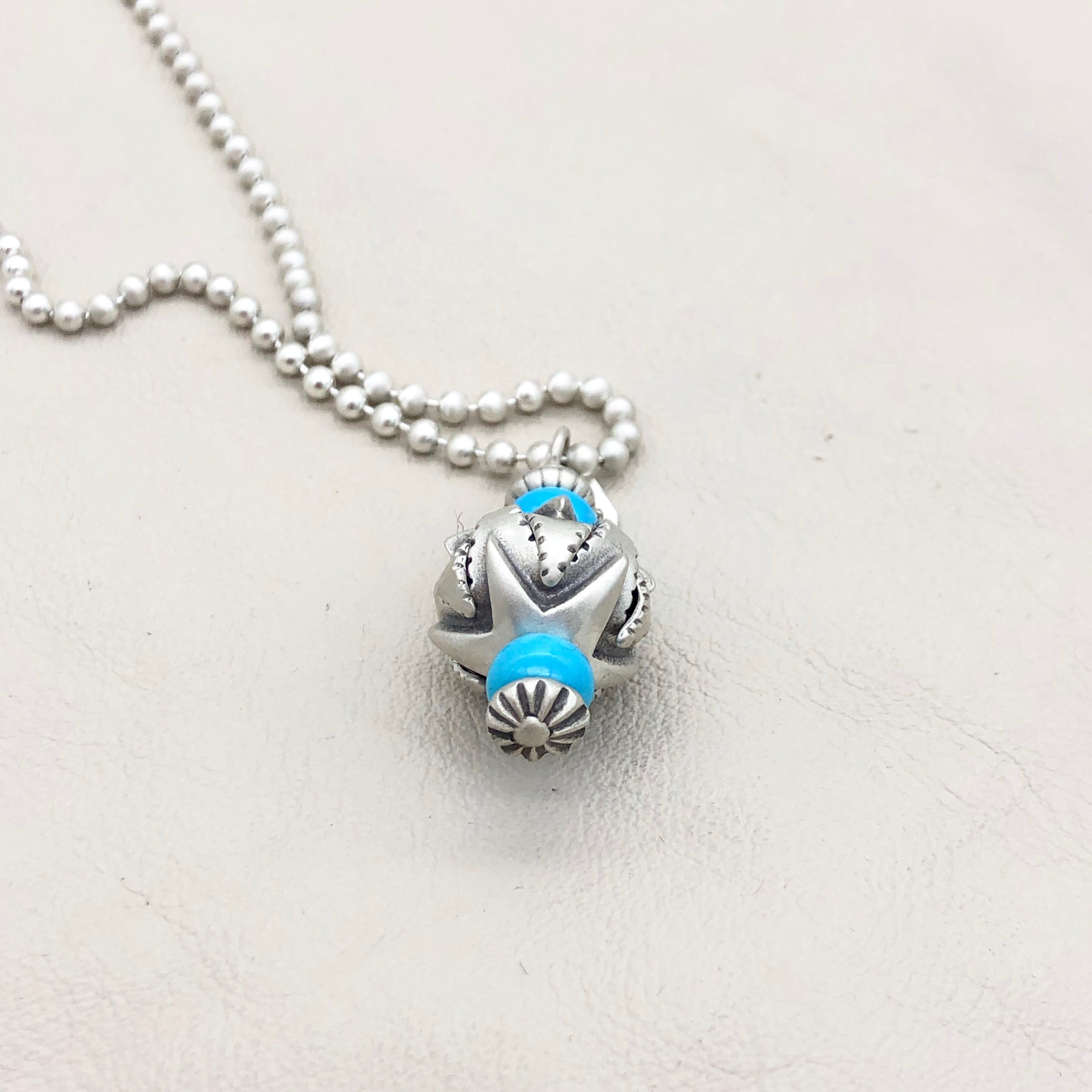 Santa Fe Pearl Sterling Silver Star Bead with Turquoise