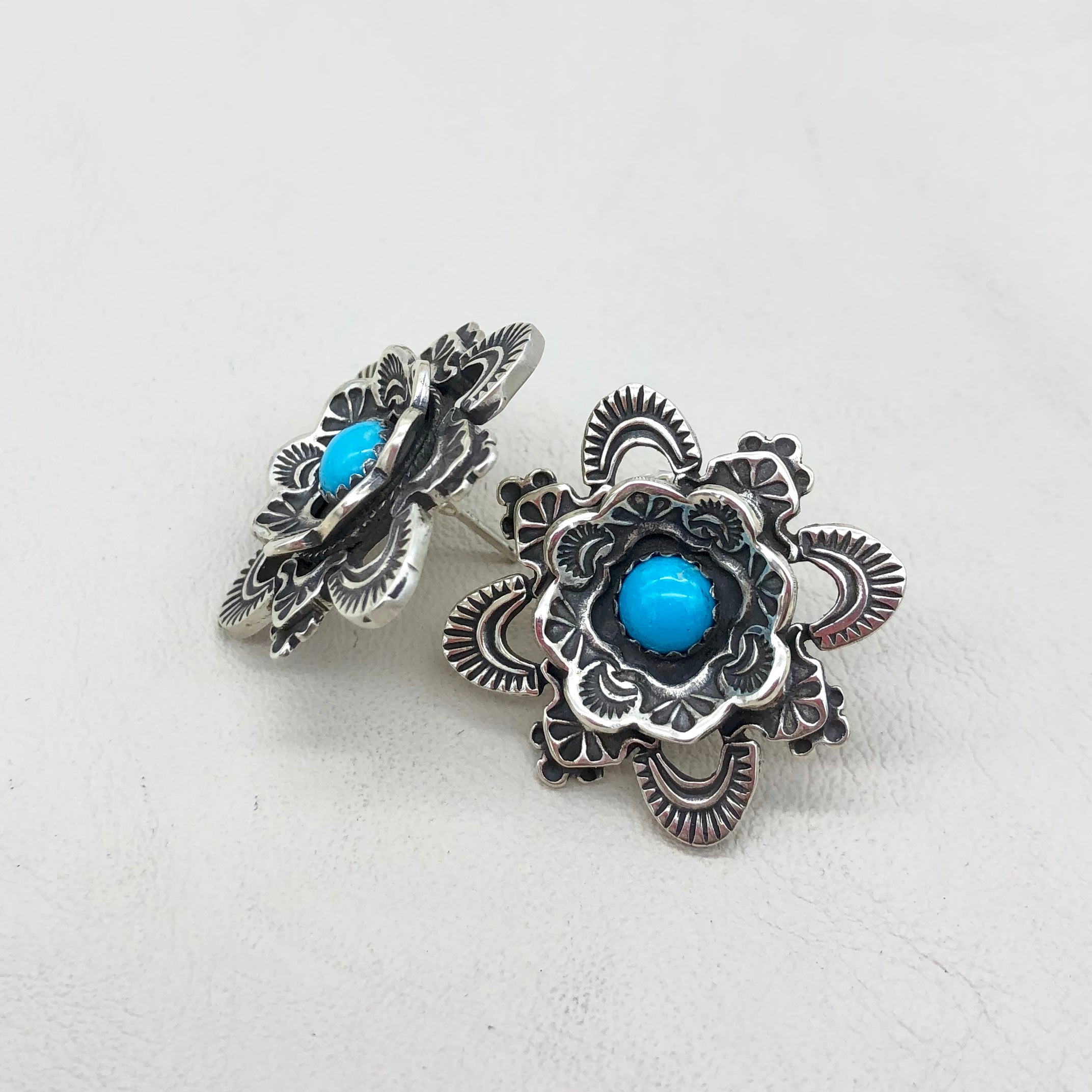 E368A Kiva with Framed Turquoise Earrings