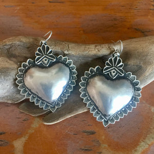 25% OFF Santa Fe Heart Repoussé Earrings EBH