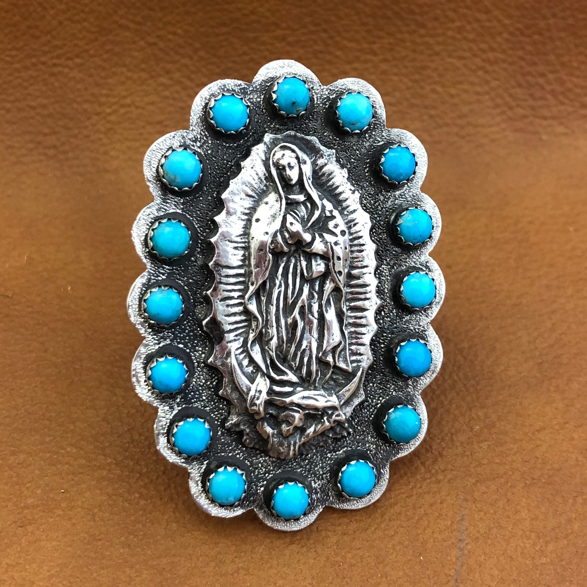 GR3 Large Turquoise Wrapped Guadalupe Ring