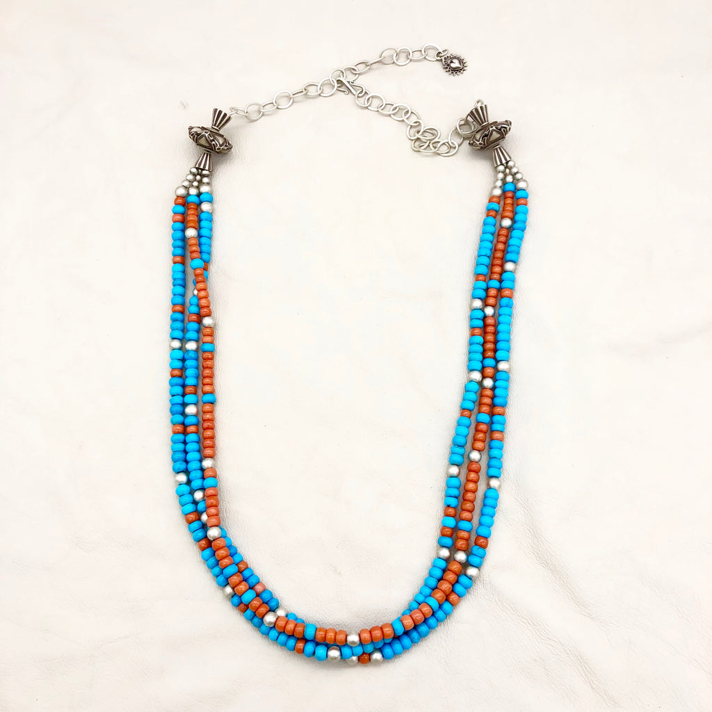 Salmon Coral, Sleeping Beauty Turquoise and Sterling Santa Fe Pearls Necklace