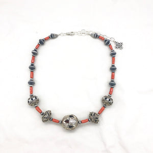 Contact to Inquire SP9 Santa Fe Pearls with Branch Coral Necklace