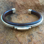 C38 Manhattan Leather and Silver Cuff