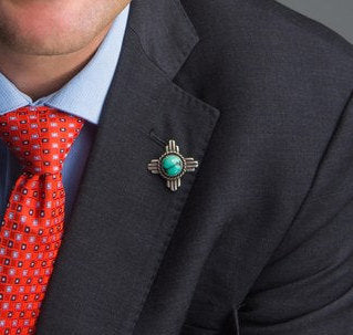 PZ Mayor Tim Keller's Zia Turquoise Lapel Pin