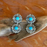 E308 Double Rose Window Turquoise Earrings