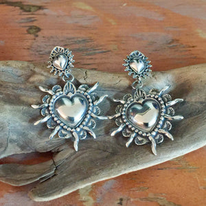 E122 Double Sacred Heart Earrings