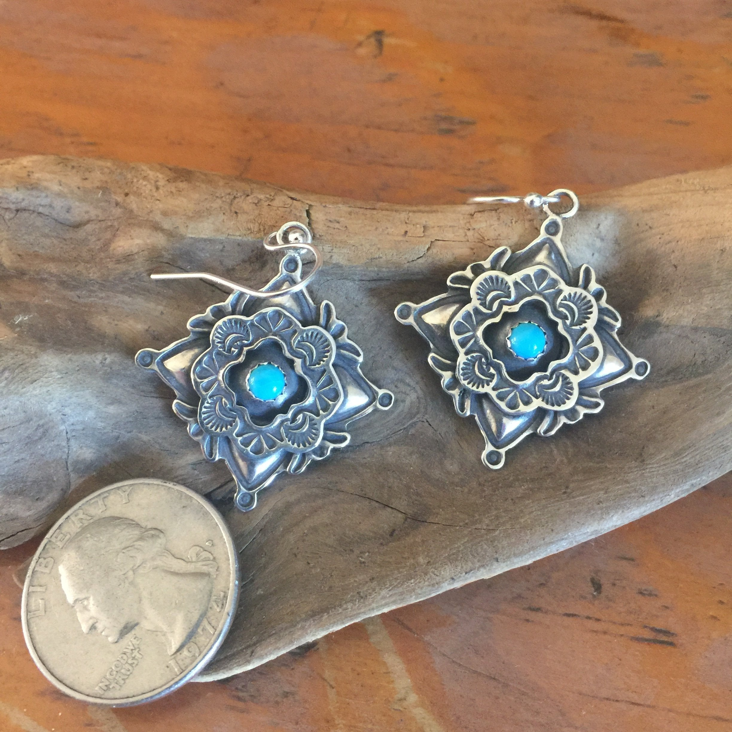 E299 Four Corner Cross with Framed Turquoise Earrings