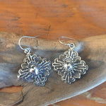 E126 Truchas Cross with overlay Taos Heart Earrings
