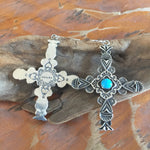 E38 Carmel Cross with Turquoise Earrings