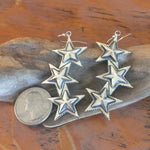 E275B Solid TRIPLE Star Earrings