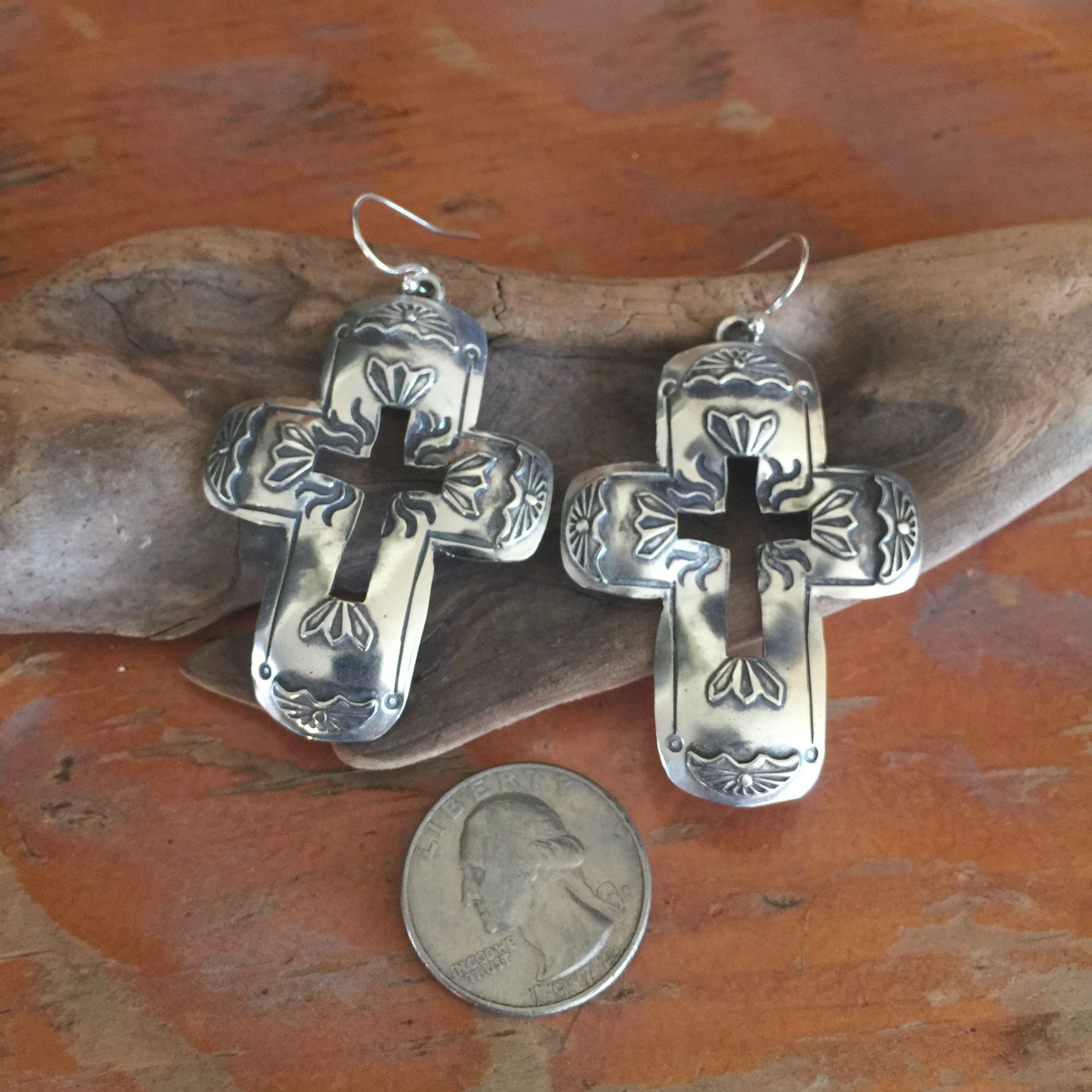40% OFF SALE Cristo Rey Cross Earrings E385
