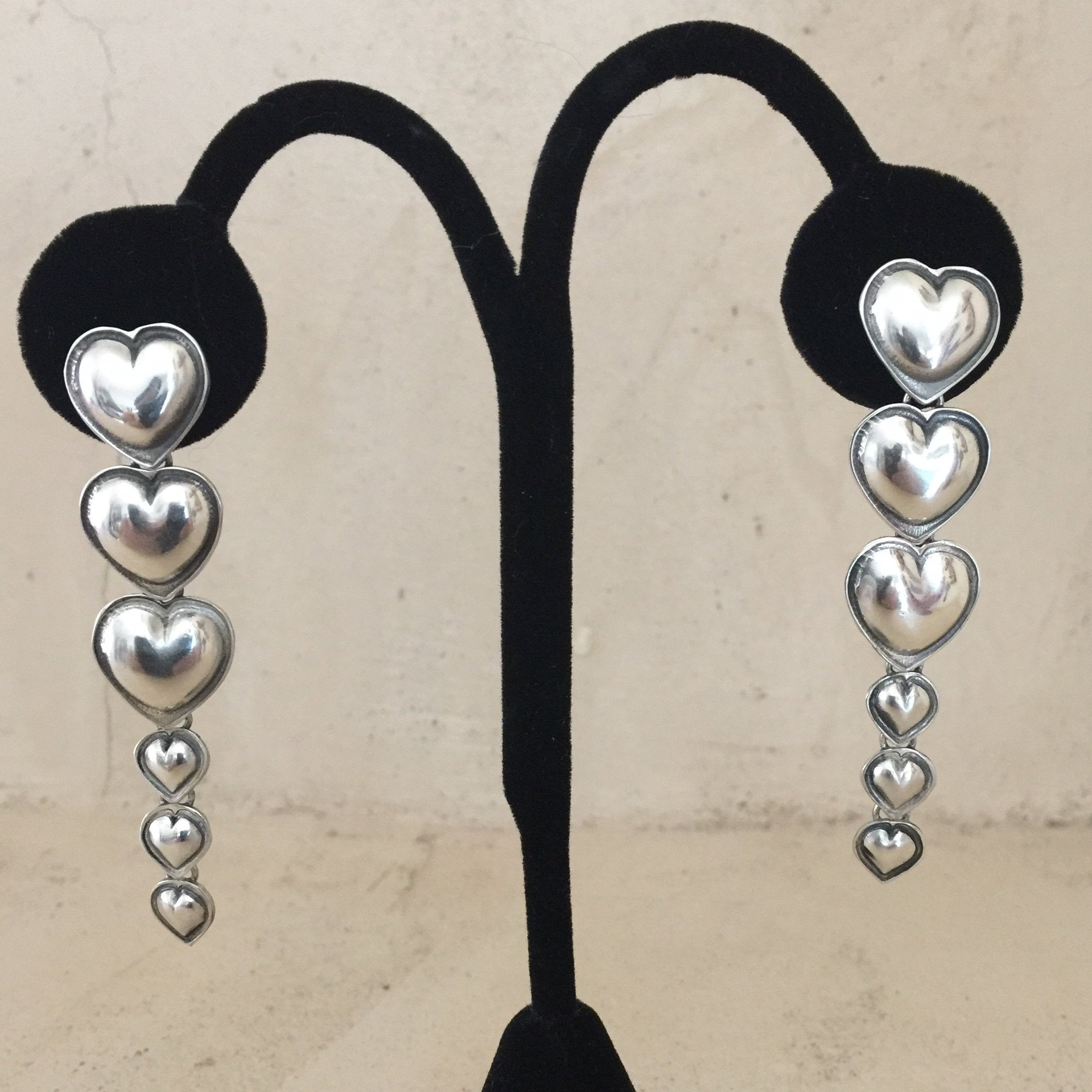 E203 Cascading Heart Earrings