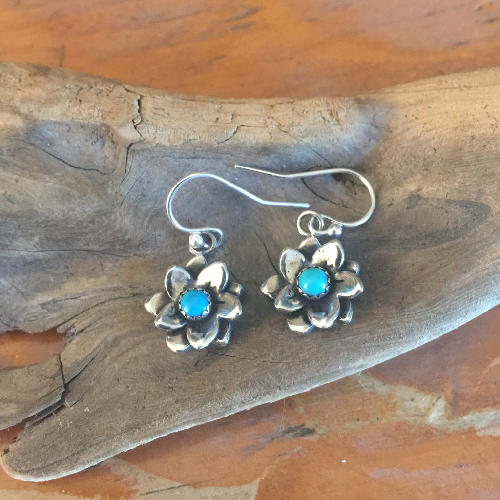 SALE Desert Flower Garnet or Turquoise Earrings E164