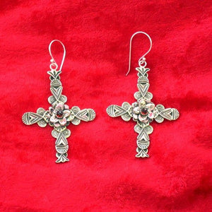 E38E Carmel Cross with Flower Garnet Earrings