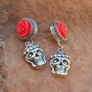 25% OFF Red Rose Mi Vida Loca Skull Earrings E48