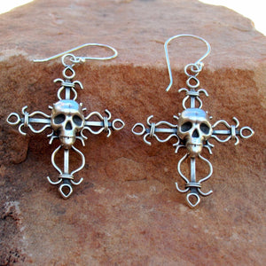 E33 Filigree Style Cross with Skull Earrings